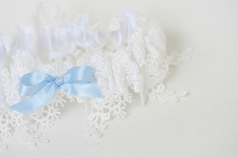 custom wedding garter with shimmer lace and something blue