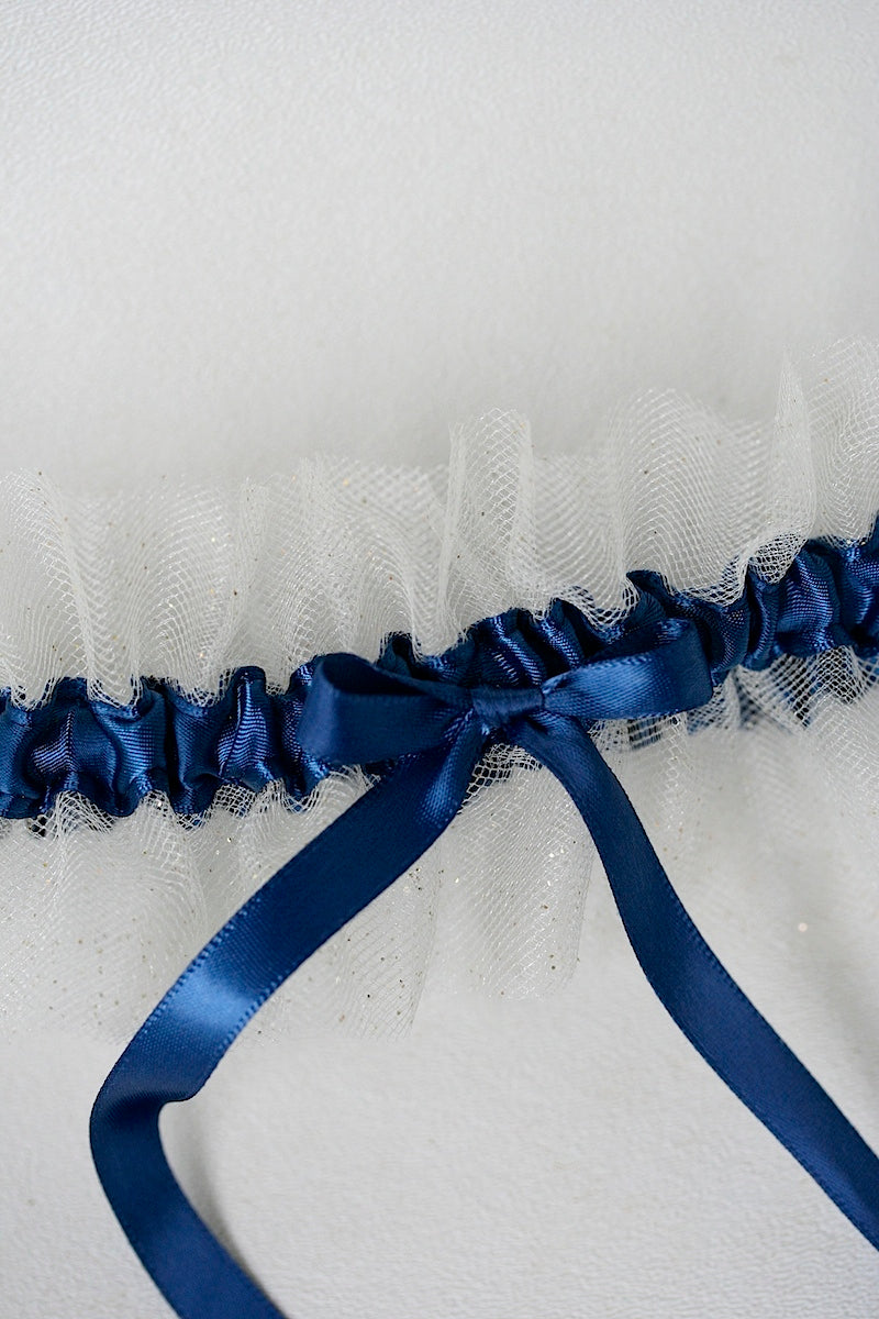 custom wedding garter with gold tulle and dark blue