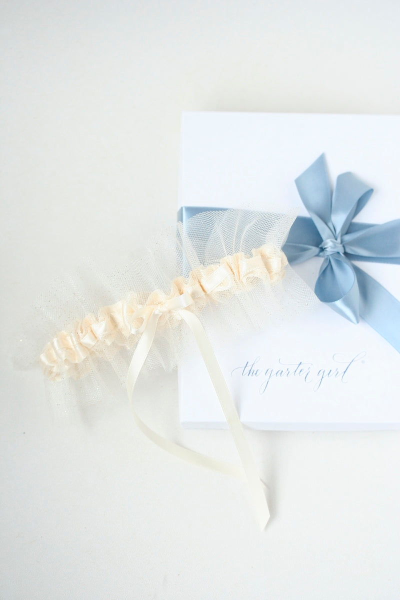 custom bridal garter with ivory tulle gold glitter
