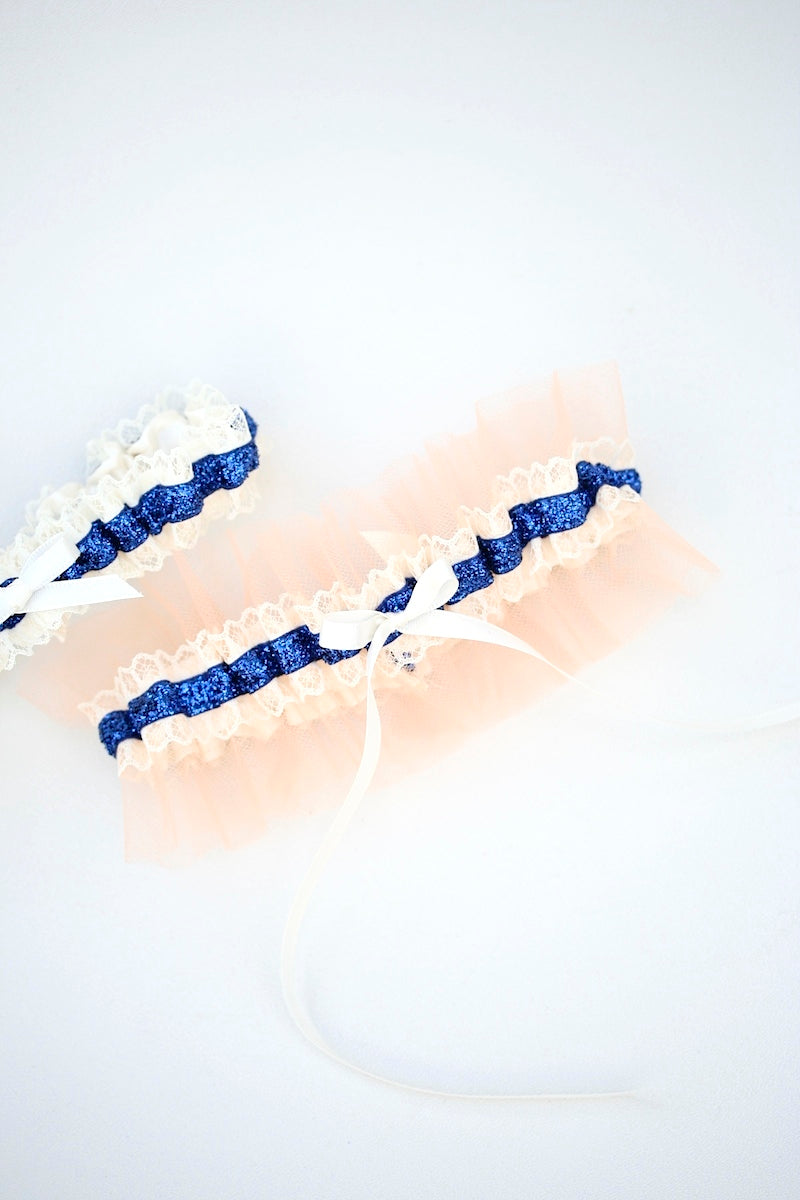 custom-wedding-garter-navy-glitter-peach-tulle-the-garter-girl-1