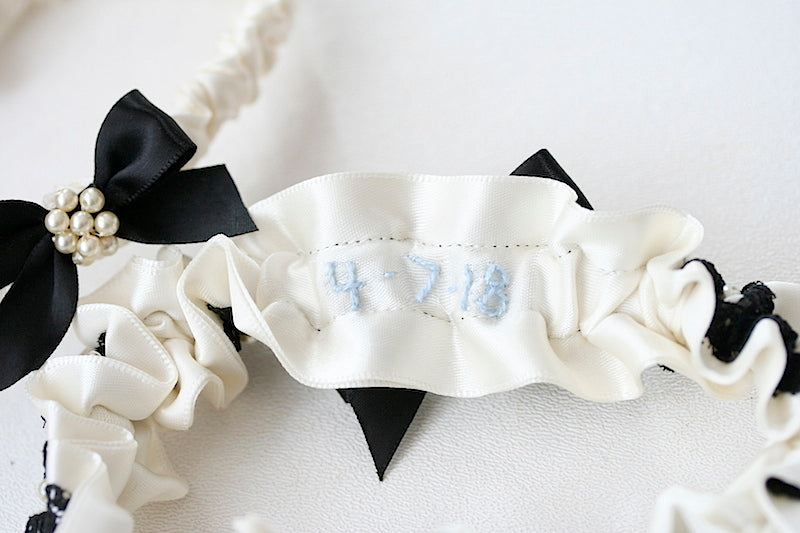something blue wedding date on inside of garter