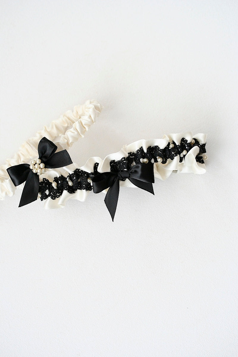 black lace wedding garter set with pearls