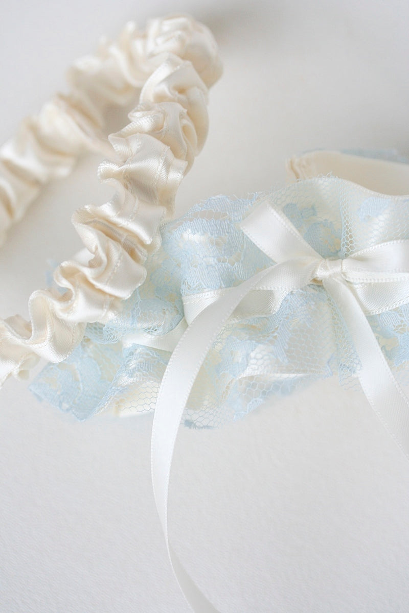 custom wedding garter set with ivory and blue lace from vintage wedding dress