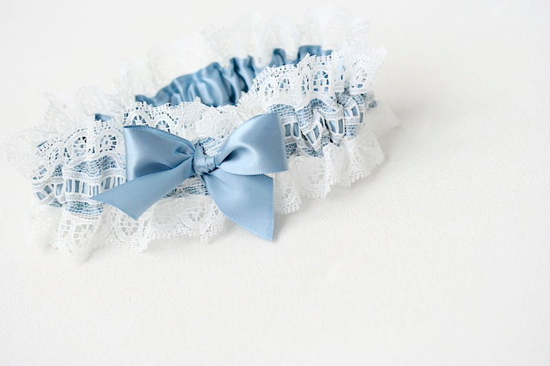 dusty blue and ivory lace wedding garter