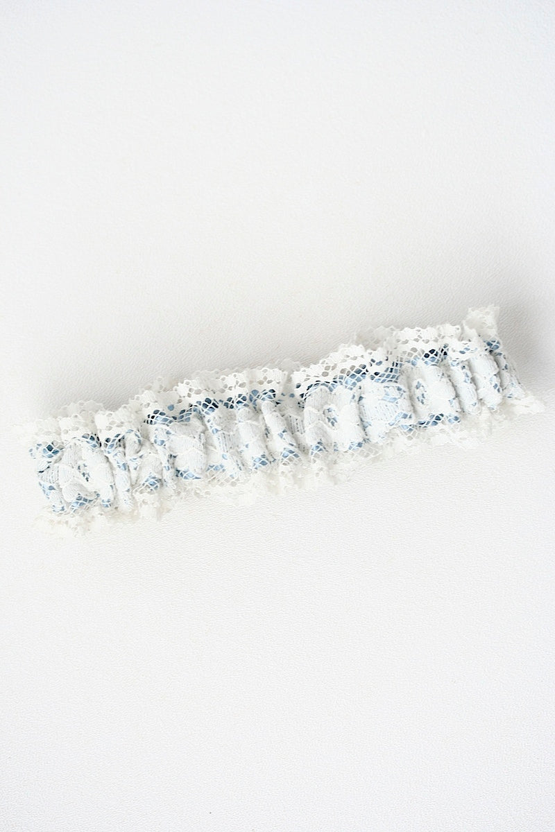 dusty blue satin and ivory lace wedding garter