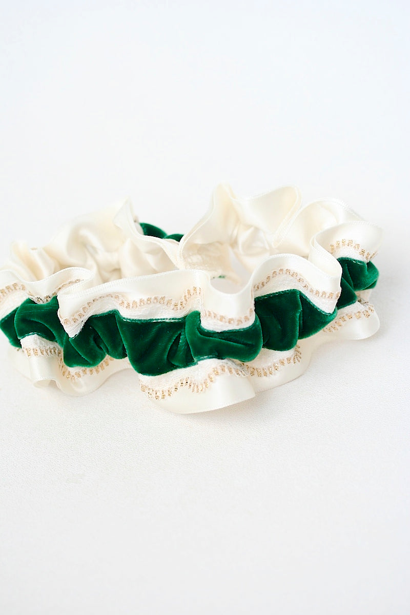 ivory, emerald velvet and gold tipped lace wedding garter