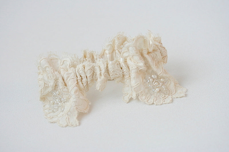 lace garter from mother's wedding dress