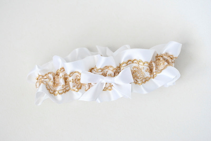 custom garter with white and gold lace