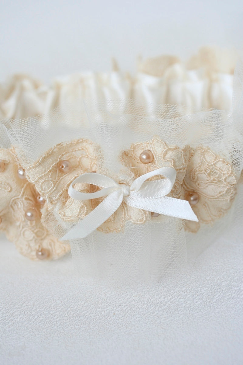 wedding garter made from grandmother's wedding dress lace