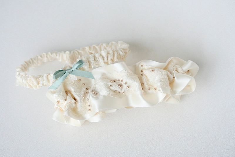 heirloom garter made from grandmother's wedding dress lace and head piece