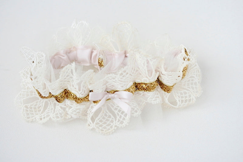heirloom lace, gold glitter and blush wedding garter