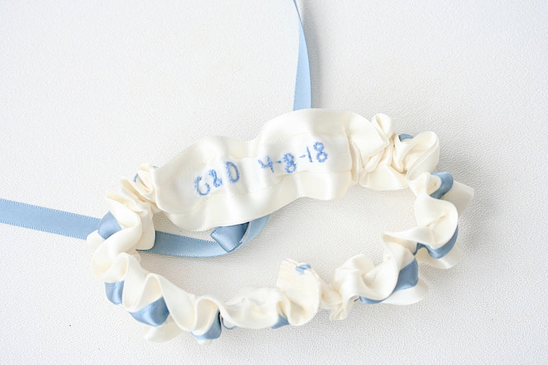 garter personalized with wedding date and initials