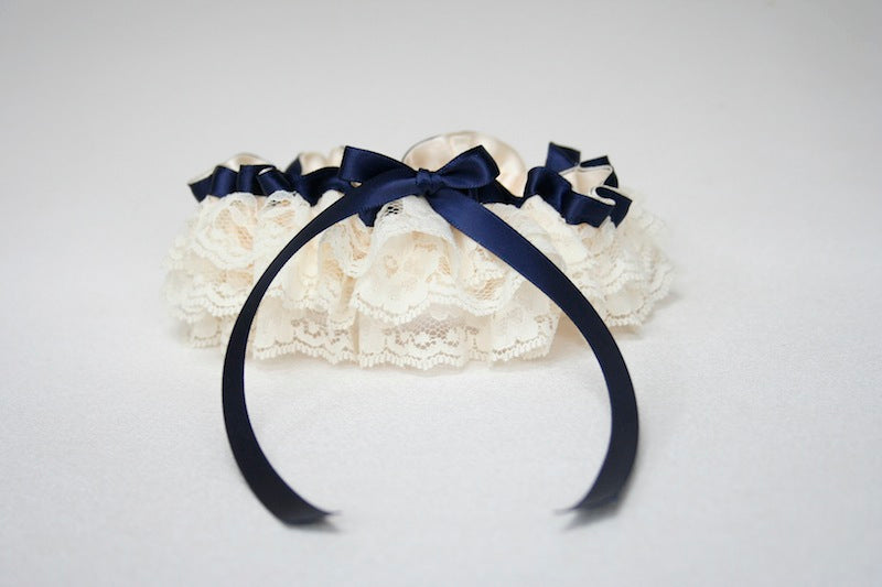 ivory-lace-navy-blue-wedding-garter-The-Garter-Girl