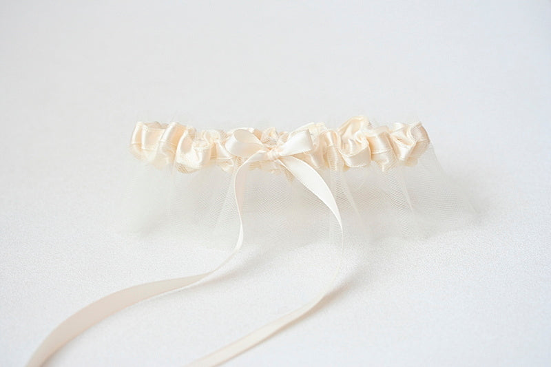 ivory tulle wedding garter
