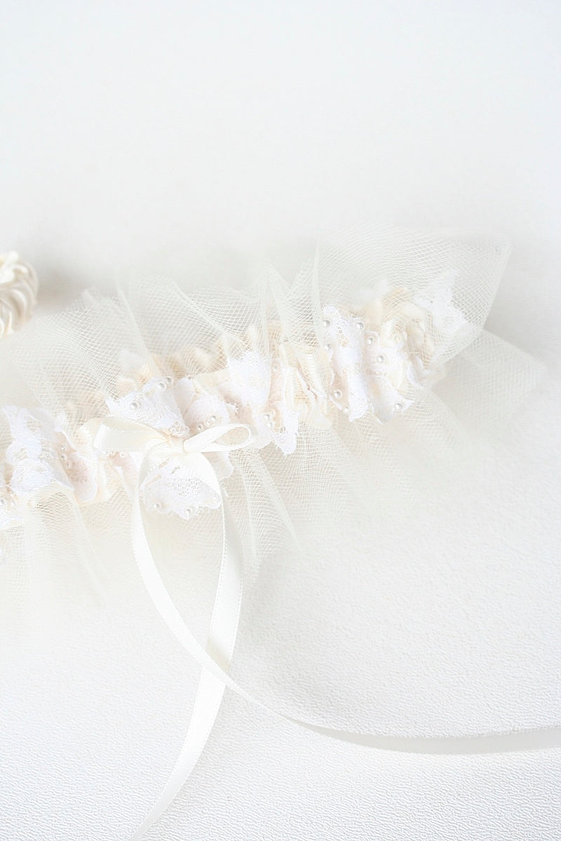 romantic  wedding garter made from mothers wedding dress