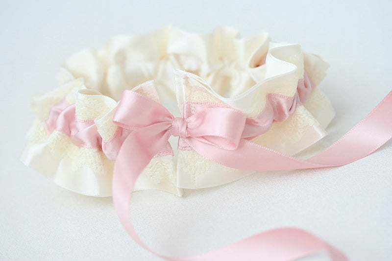 personalized wedding garter with blush satin and ivory lace