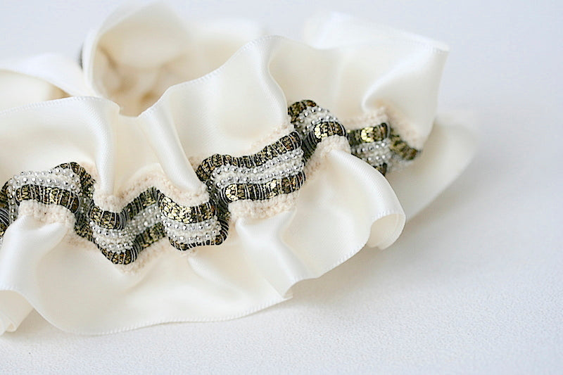 custom wedding garter with gold and silver
