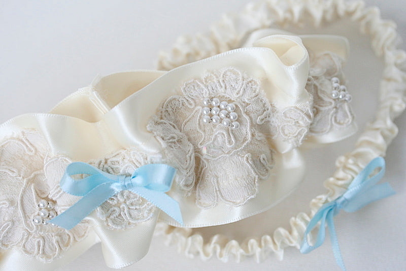 wedding garter set made from sleeve of mother's wedding dress