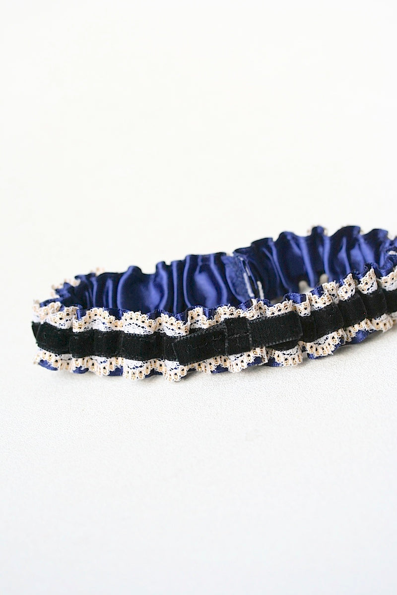personalized wedding garter with black velvet gold lace and navy blue