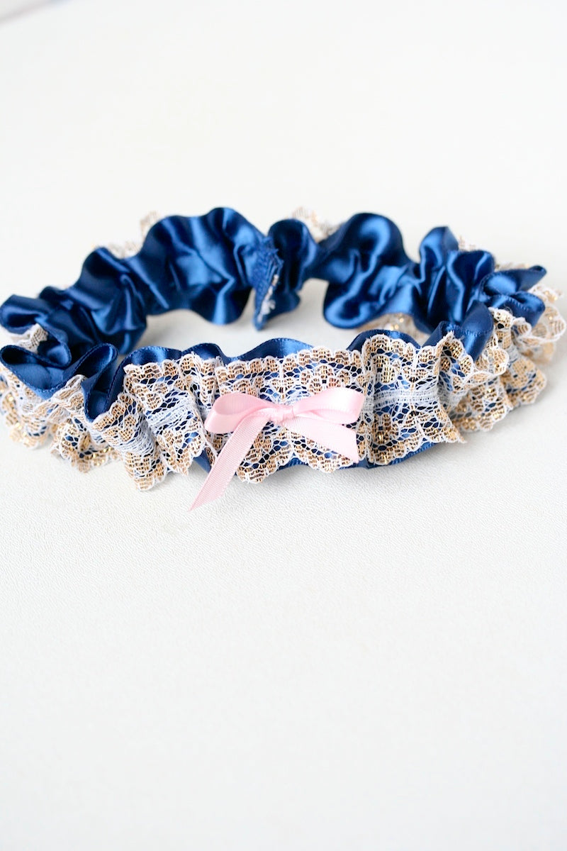 custom wedding garter with gold lace, navy blue and light pink