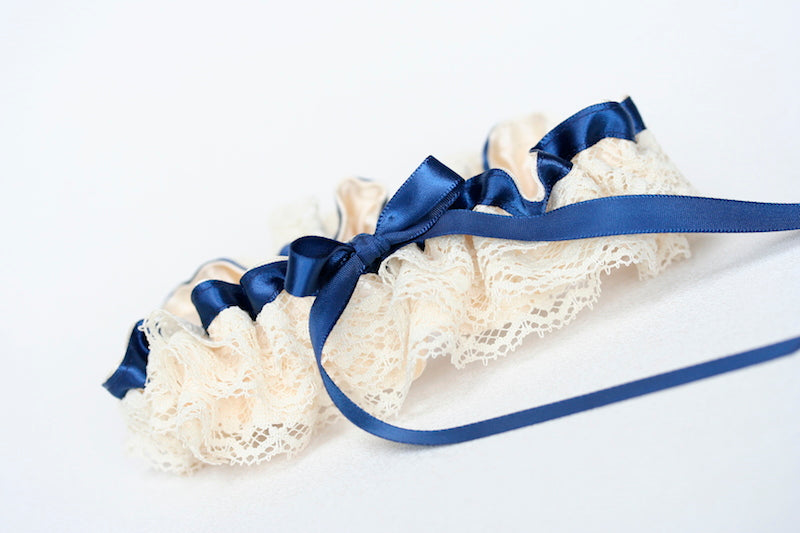 navy-blue-ivory-ruffled-wedding-garter-The-Garter-Girl-1
