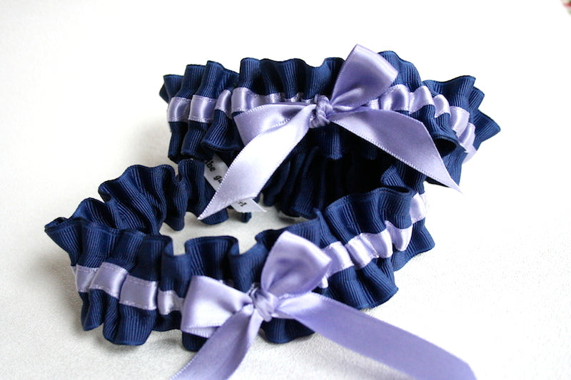 navy-blue-light-purple-custom-wedding-garter-The-Garter-Girl