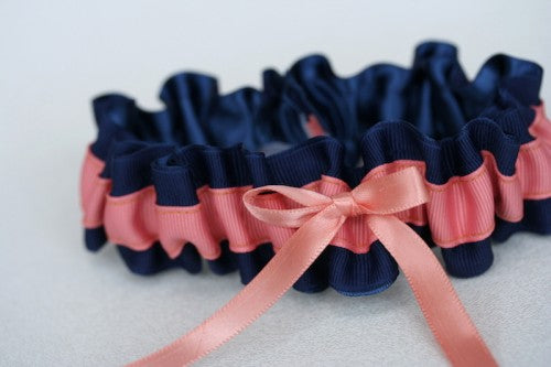 navy-coral-wedding-garter-The-Garter-Girl