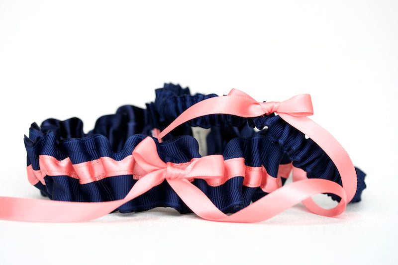 navy-coral-wedding-garter-set-The-Garter-Girl