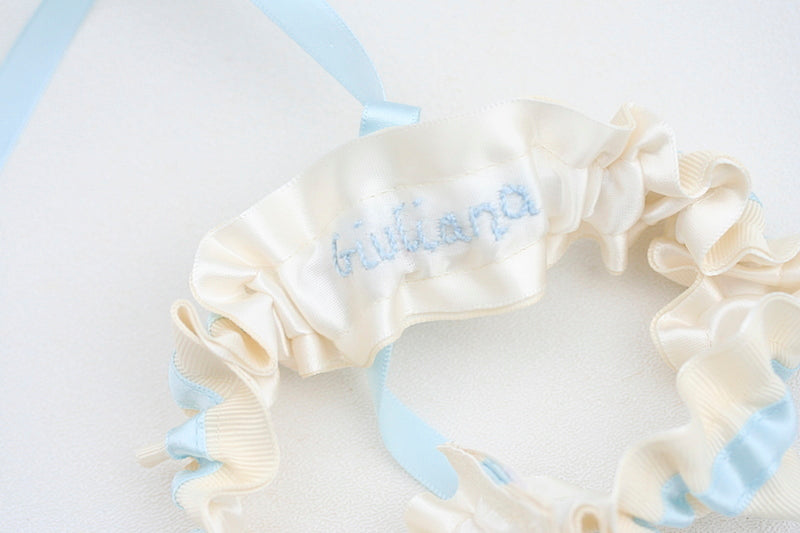 blue wedding garter with bride's name