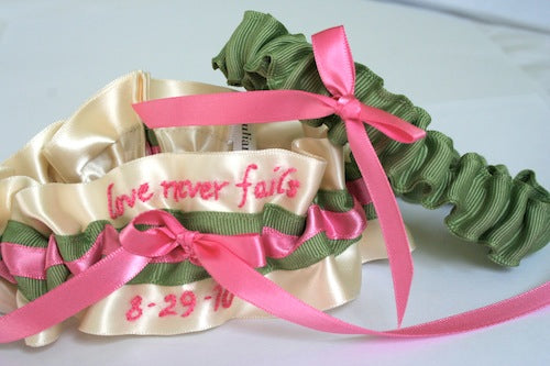 personalized-wedding-garter-ivory-pink-and-green-The-Garter-Girl-by-Julianne-Smith