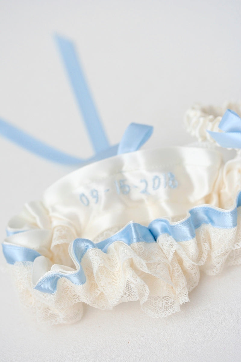 wedding date on the inside of a wedding garter set