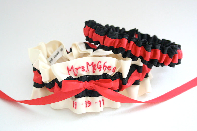 red-black-custom-wedding-garter-The-Garter-Girl