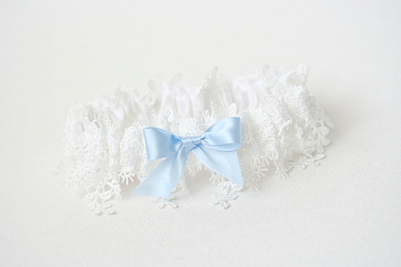 shimmer lace wedding garter with something blue bow