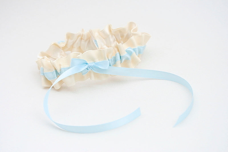 custom ivory and blue wedding garter