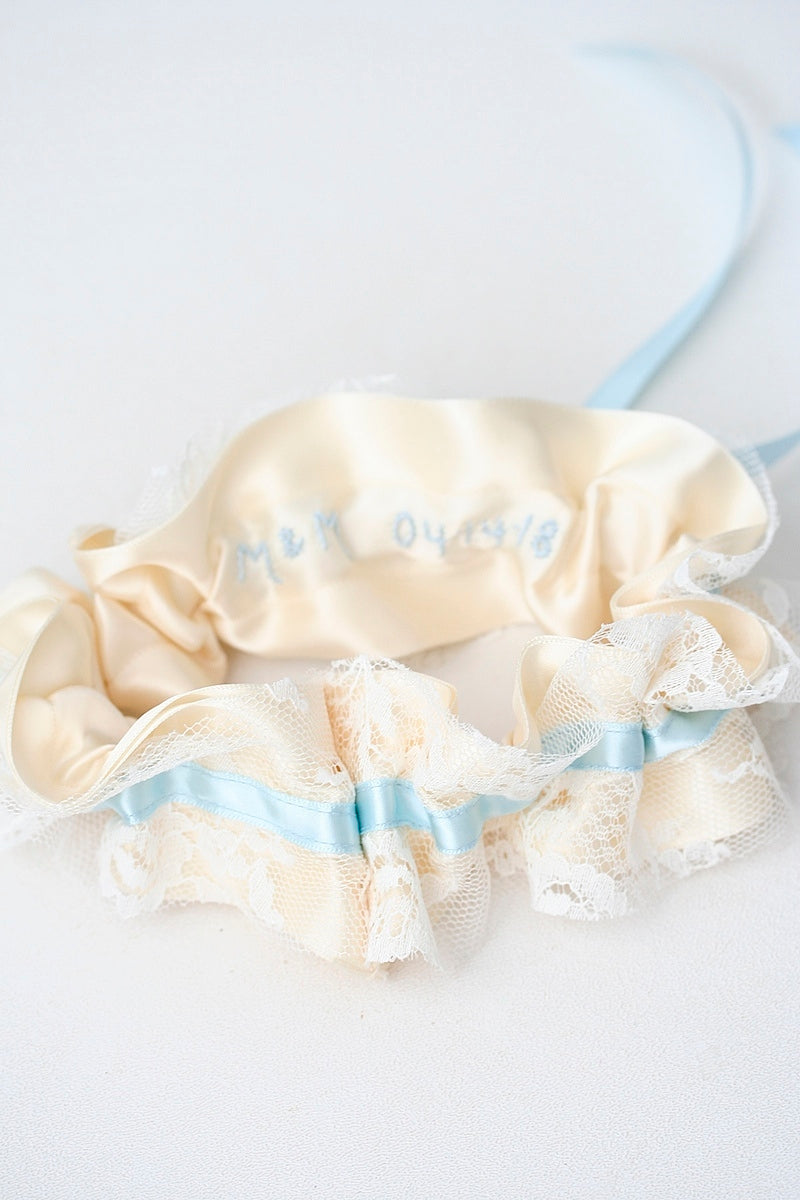personalized wedding garter set with hand embroidery