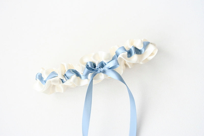 ivory and blue stylish wedding garter