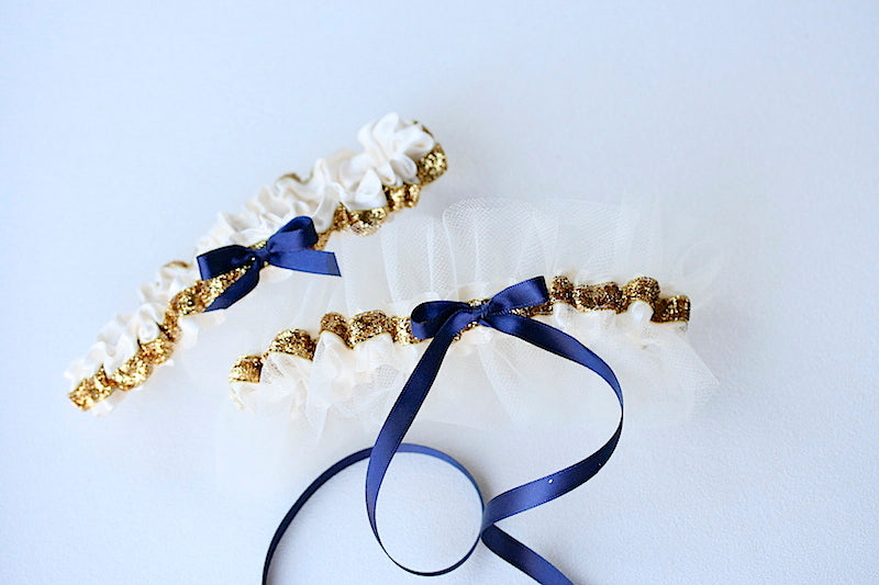 gold, navy blue personalized wedding garter set with tulle