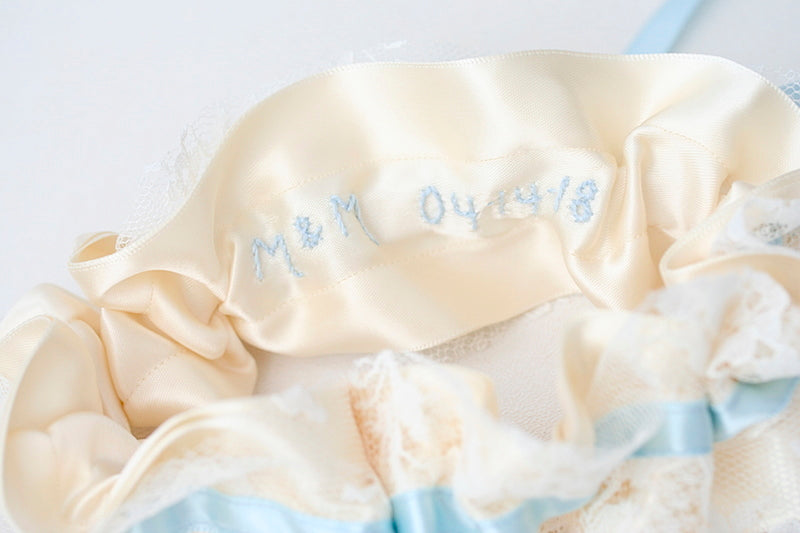 custom wedding garter with date and initials