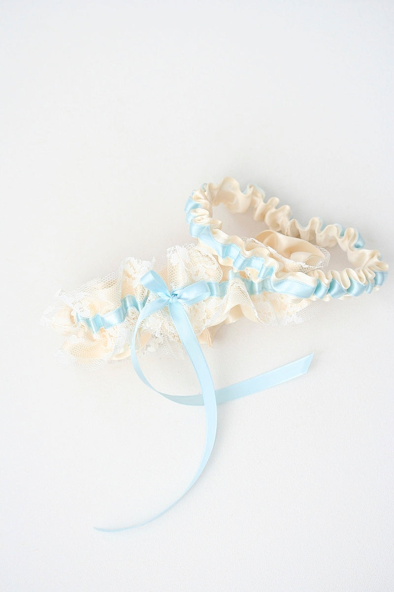 blue and ivory wedding garter made from vintage wedding dress lace