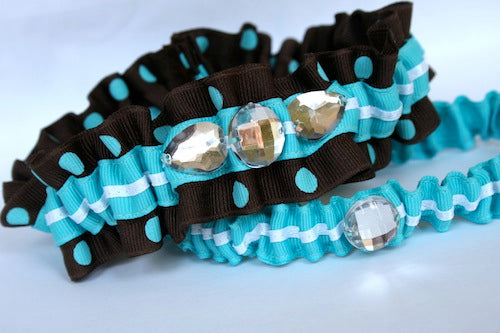 wedding-garter-brown-and-turquoise-The-Garter-Girl-by-Julianne-Smith
