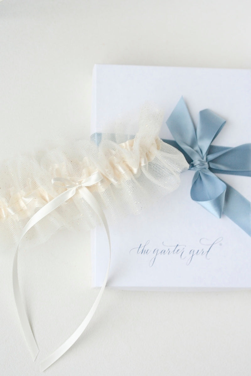 wedding garter with ivory and gold glitter tulle
