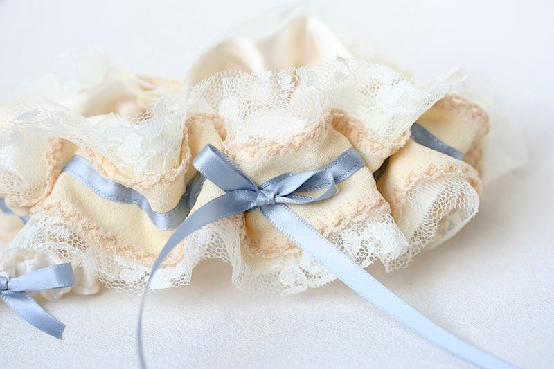 wedding garter made from grandmother's wedding dress