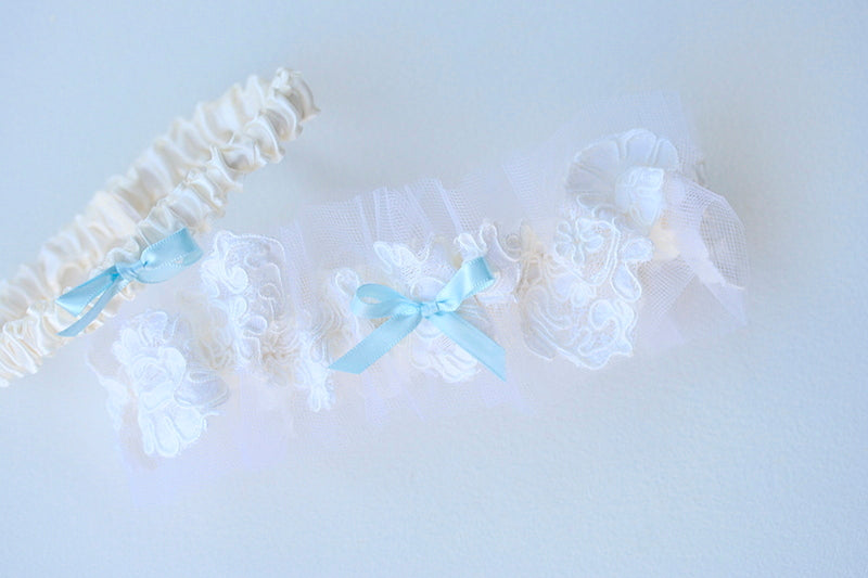 lace and blue custom wedding garter set made from the bride's mother's veil
