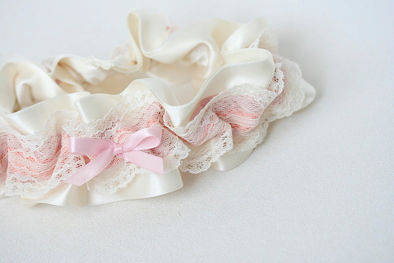 wedding garter in colors of sunset