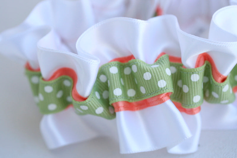 white-polka-dot-sage-coral-wedding-garter-The-Garter-Girl-1