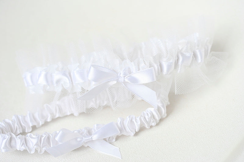 white tulle wedding garter set