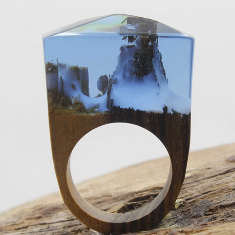 Bague Secret de Montagne, faite à la main en bois tropical