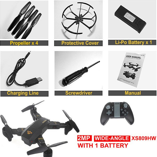 YH-19HW Foldable Drone mini RC Selfie Drone with Camera 720P