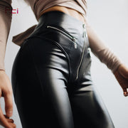 Leather Leggings with Front  Zipper High Waist