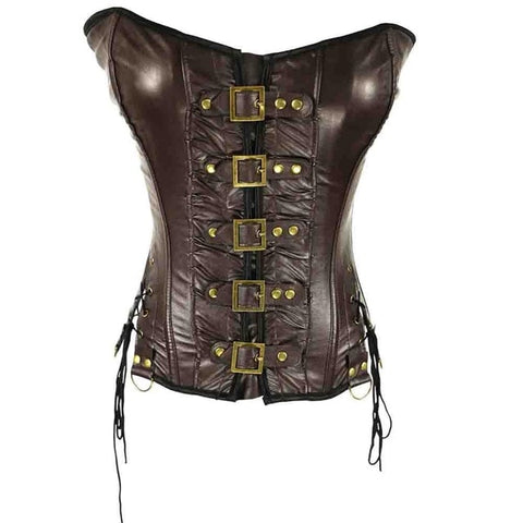 Steampunk gothic halterneck leather corset